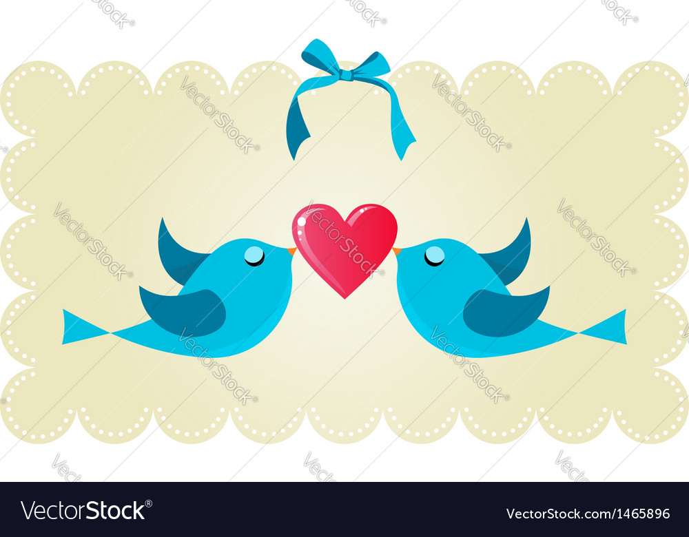 Twitter love couple birds vector | Price: 1 Credit (USD $1)