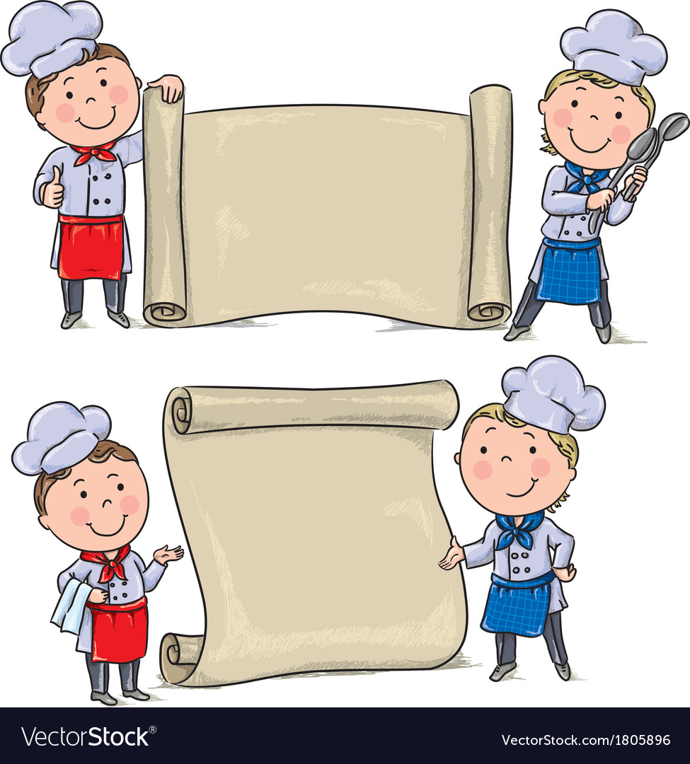 Two funny kids cook with banner scroll vector | Price: 1 Credit (USD $1)