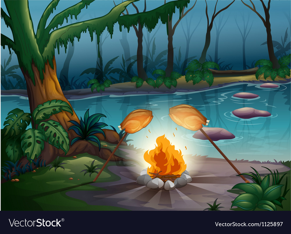 A bonfire in a jungle vector | Price: 1 Credit (USD $1)
