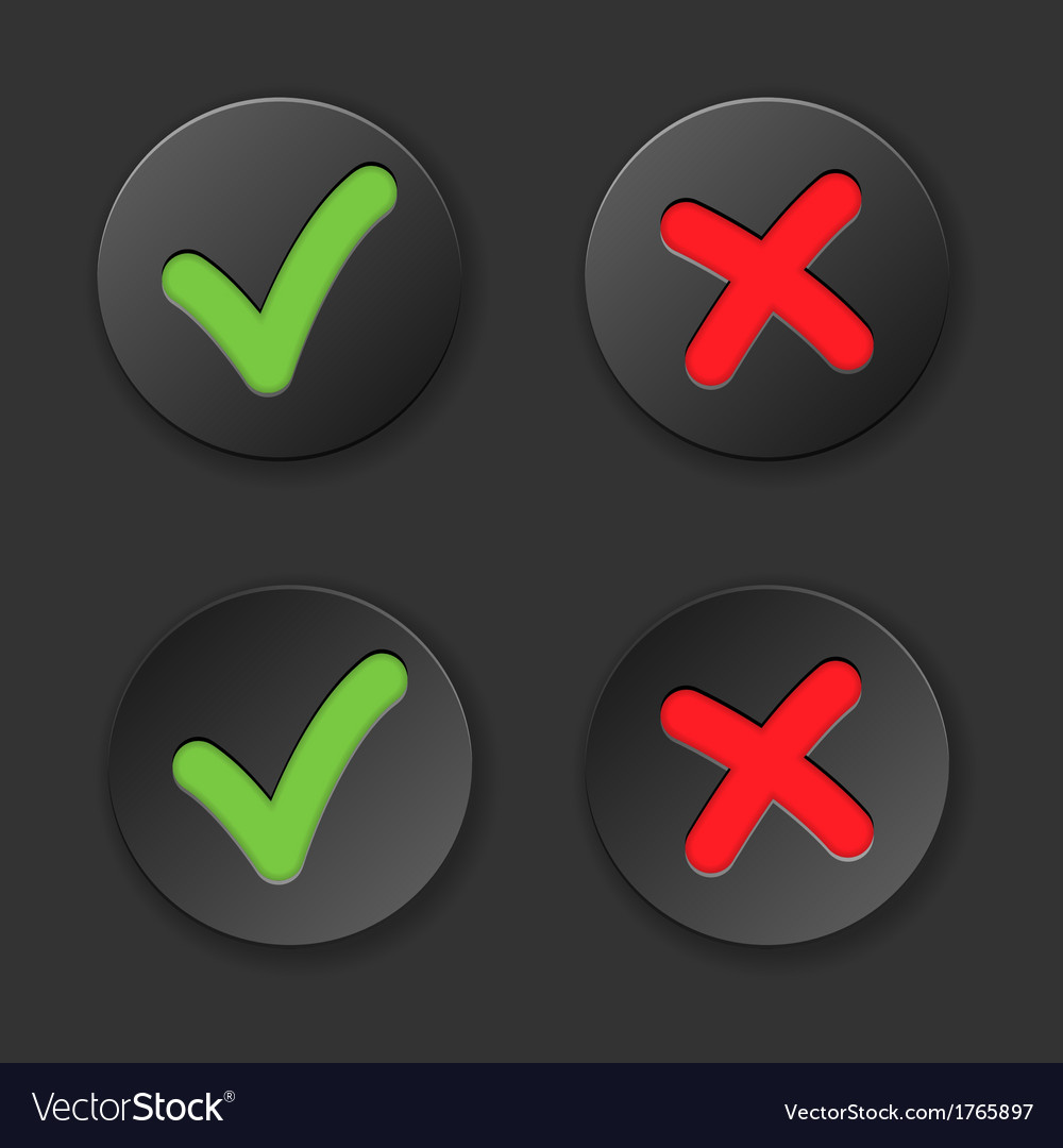 Check and cross mark button set vector | Price: 1 Credit (USD $1)