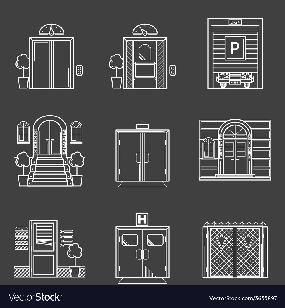 Contour icons collection of different types doors vector | Price: 1 Credit (USD $1)