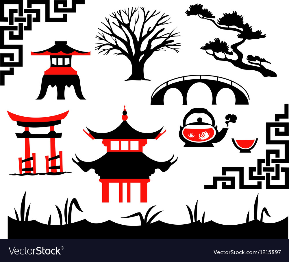 Garden asian set vector | Price: 1 Credit (USD $1)
