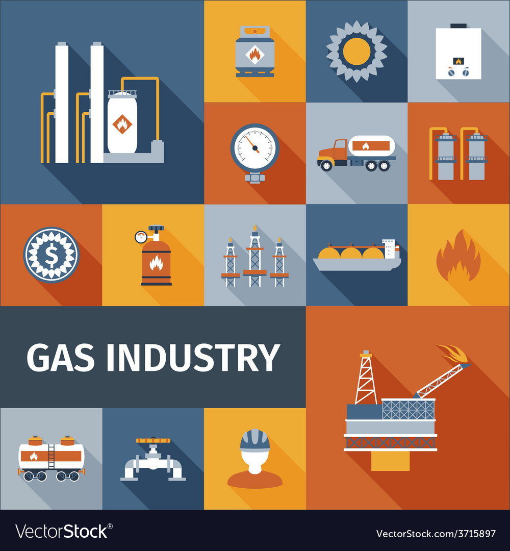 Gas icon flat vector | Price: 1 Credit (USD $1)