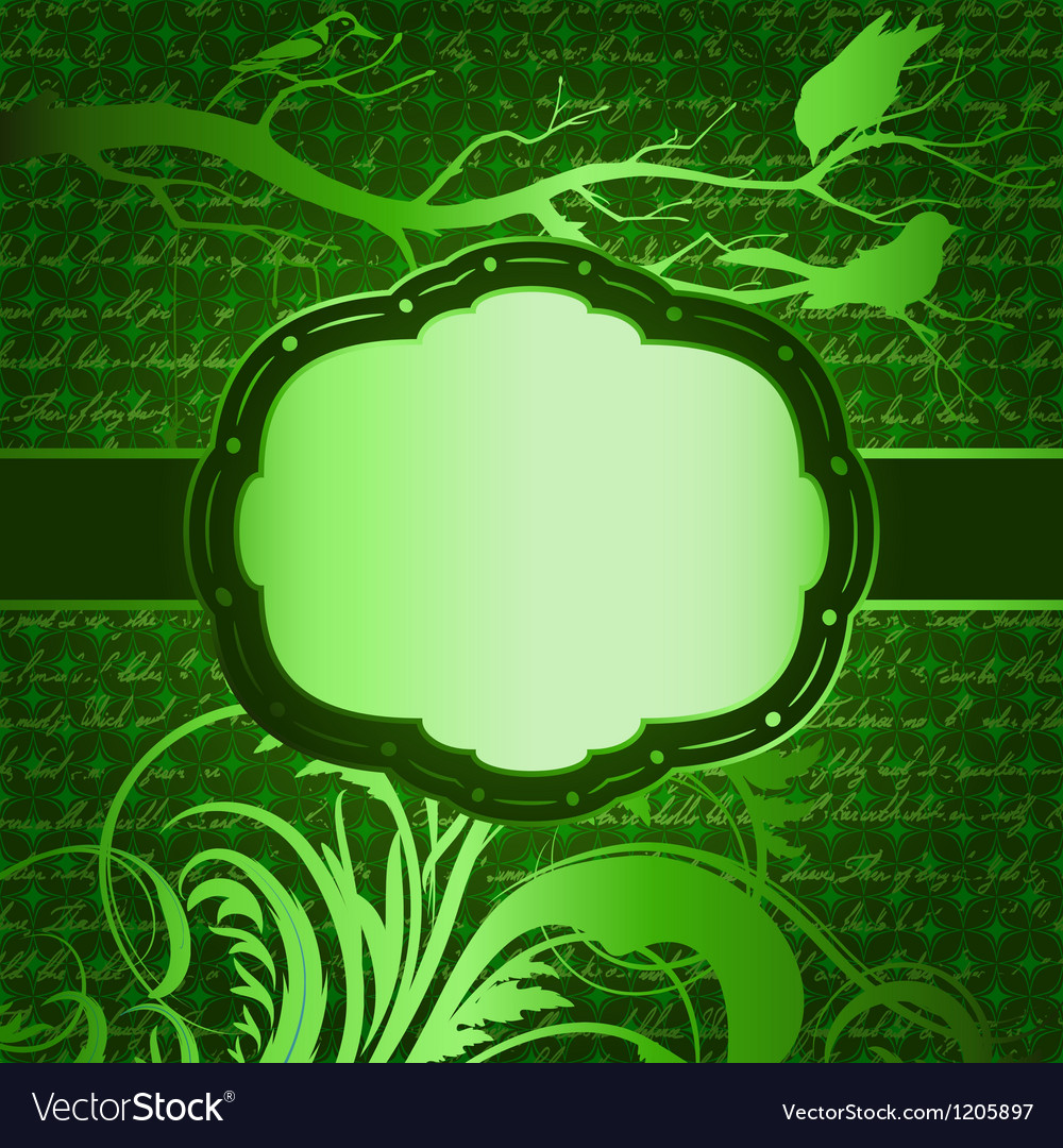 Green luxury background with tree branch and birds vector | Price: 1 Credit (USD $1)