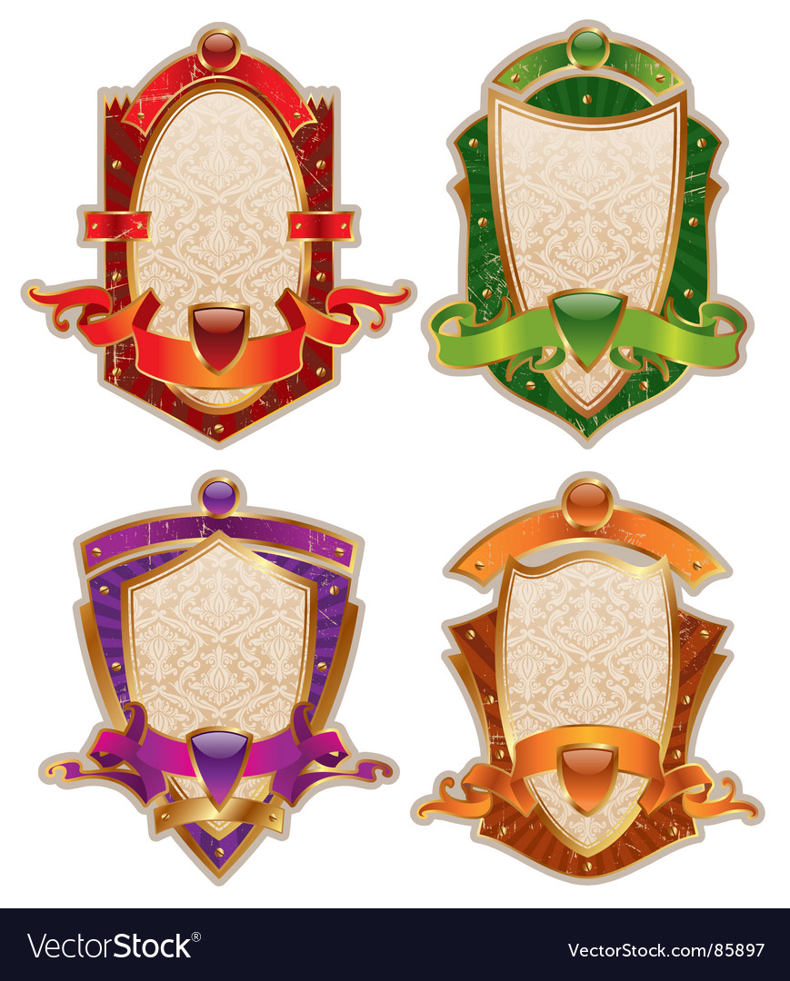 Heraldic shields with banners vector | Price: 1 Credit (USD $1)
