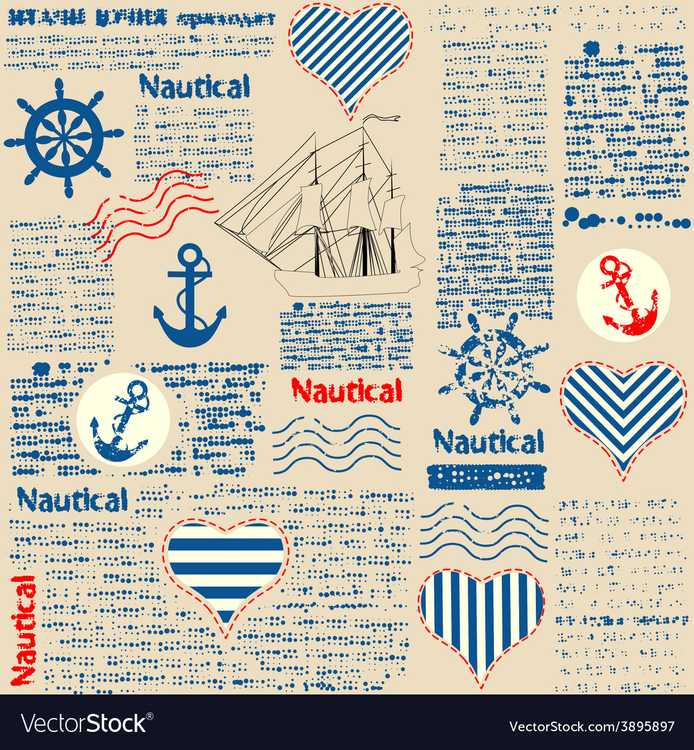 Imitation of newspaper in nautical style with vector | Price: 1 Credit (USD $1)