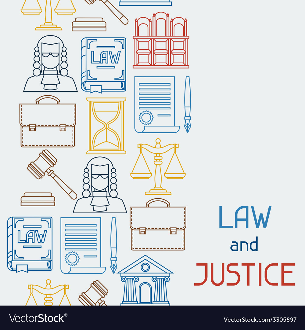 Law and justice icons seamless pattern in flat vector | Price: 1 Credit (USD $1)