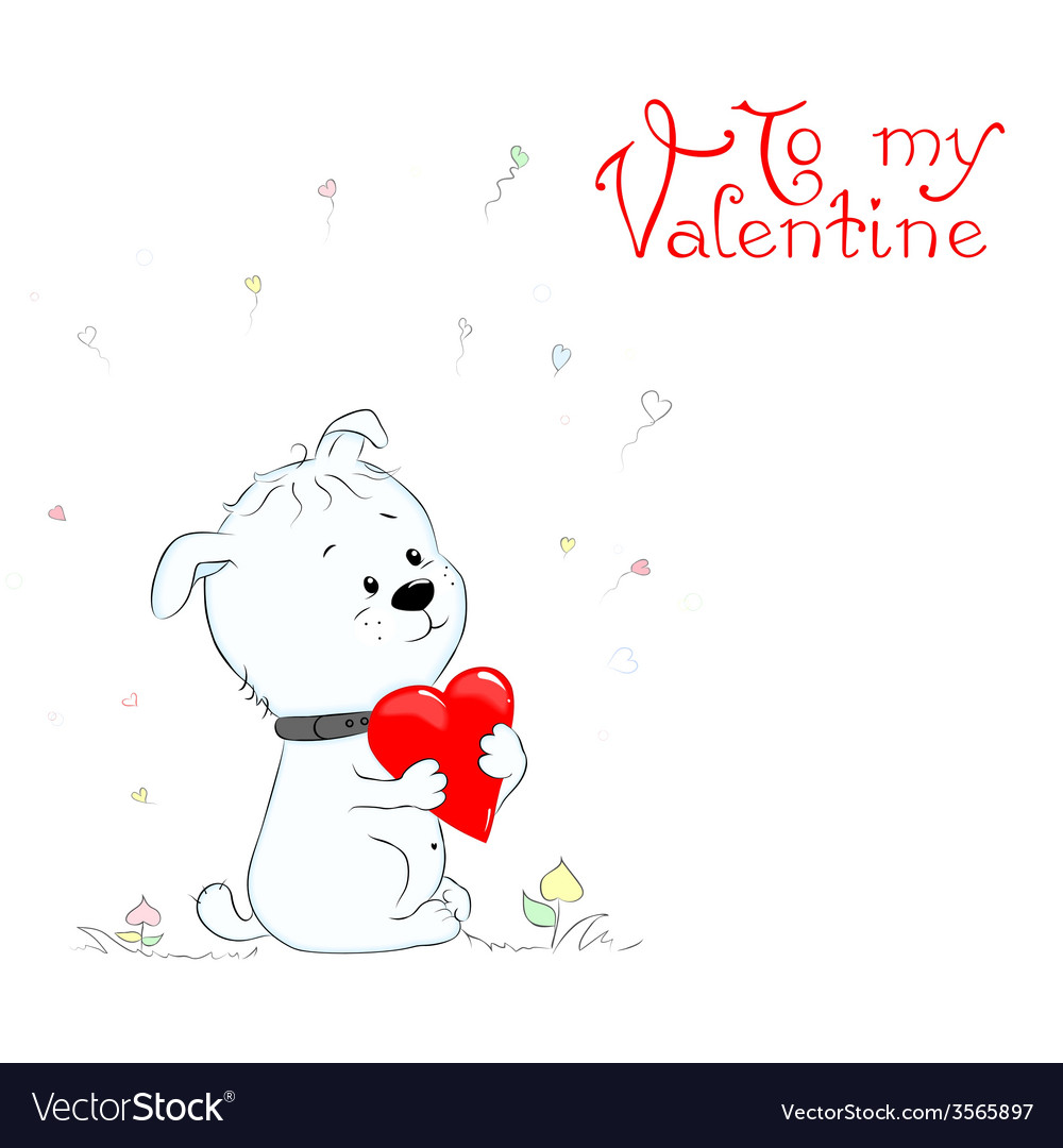 Puppy with heart vector