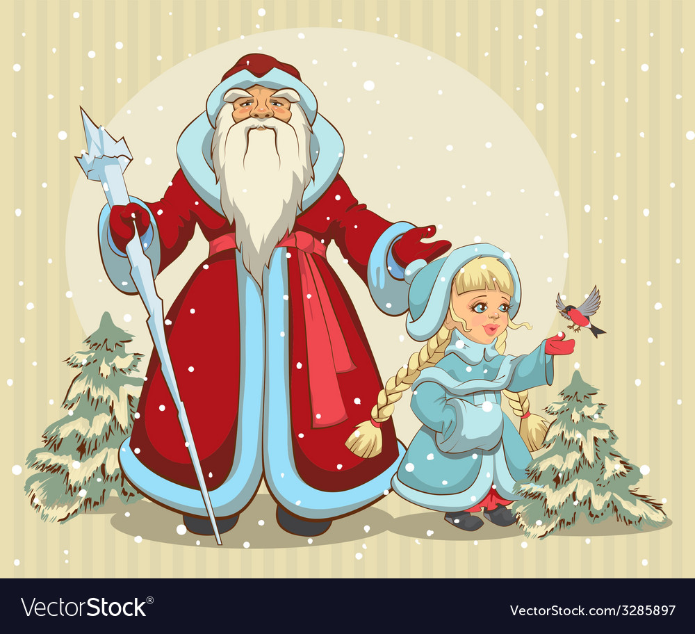 Russian santa claus grandfather frost and snow vector | Price: 1 Credit (USD $1)