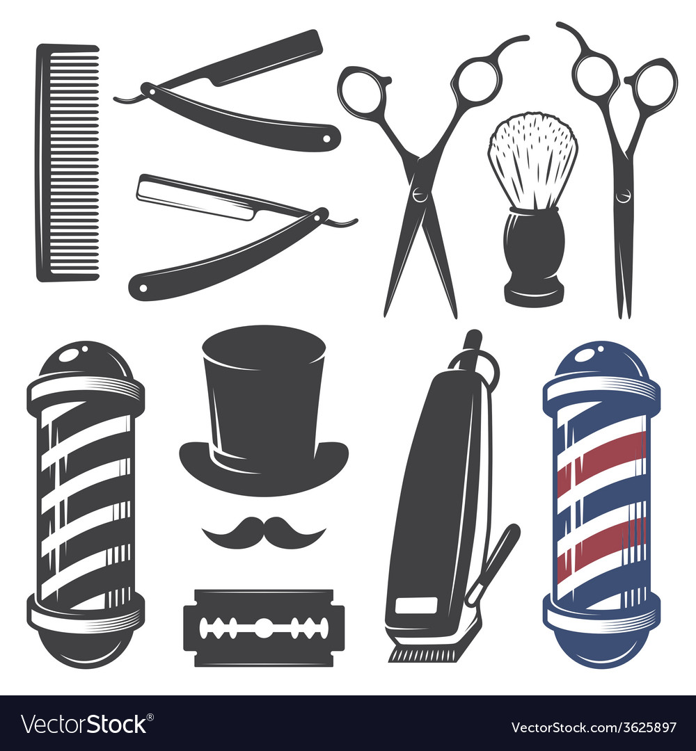 Set of vintage barber shop elements vector | Price: 1 Credit (USD $1)