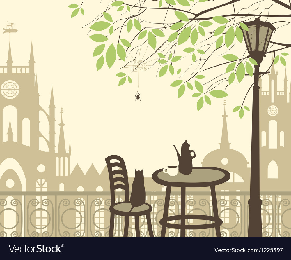 Spring in the old town vector | Price: 1 Credit (USD $1)