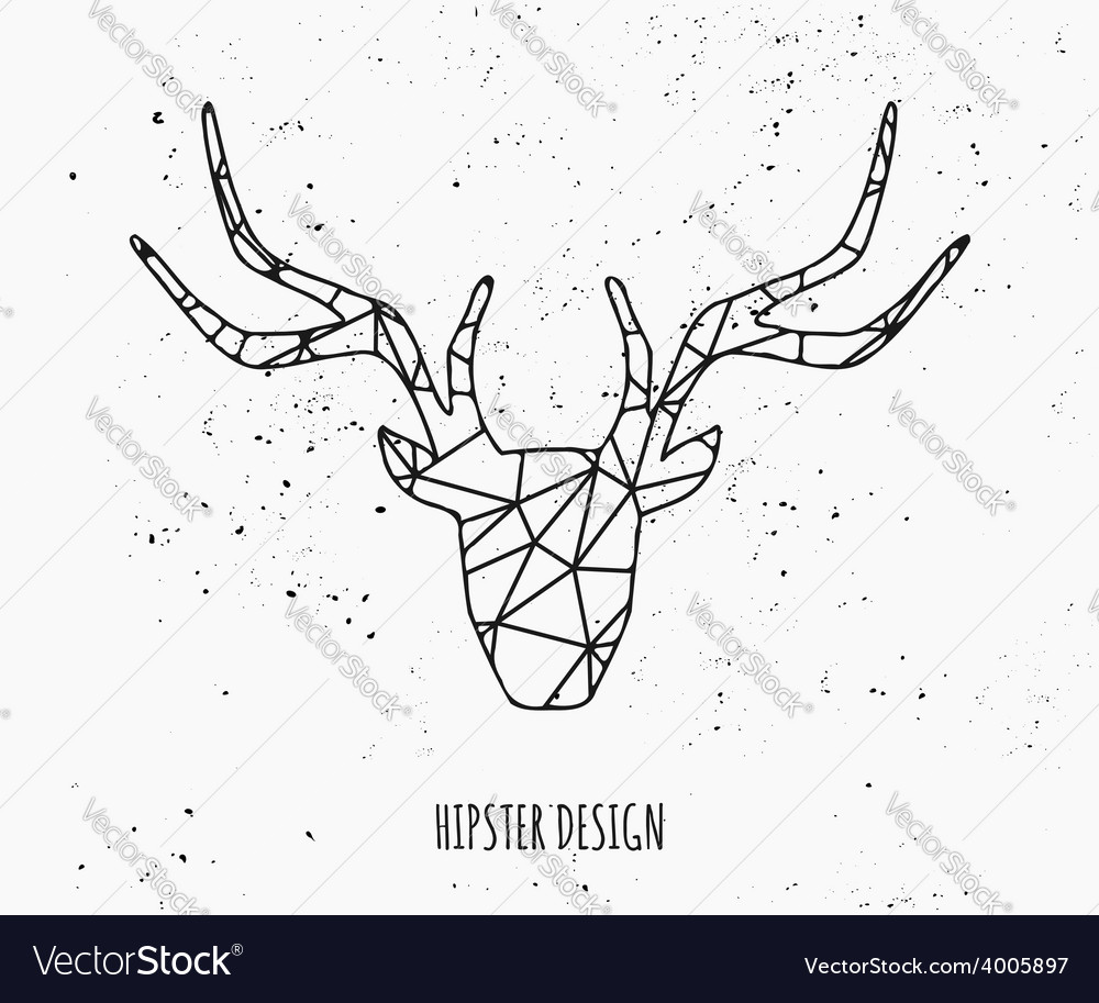 Stylized deer head abstract geometric design vector | Price: 1 Credit (USD $1)