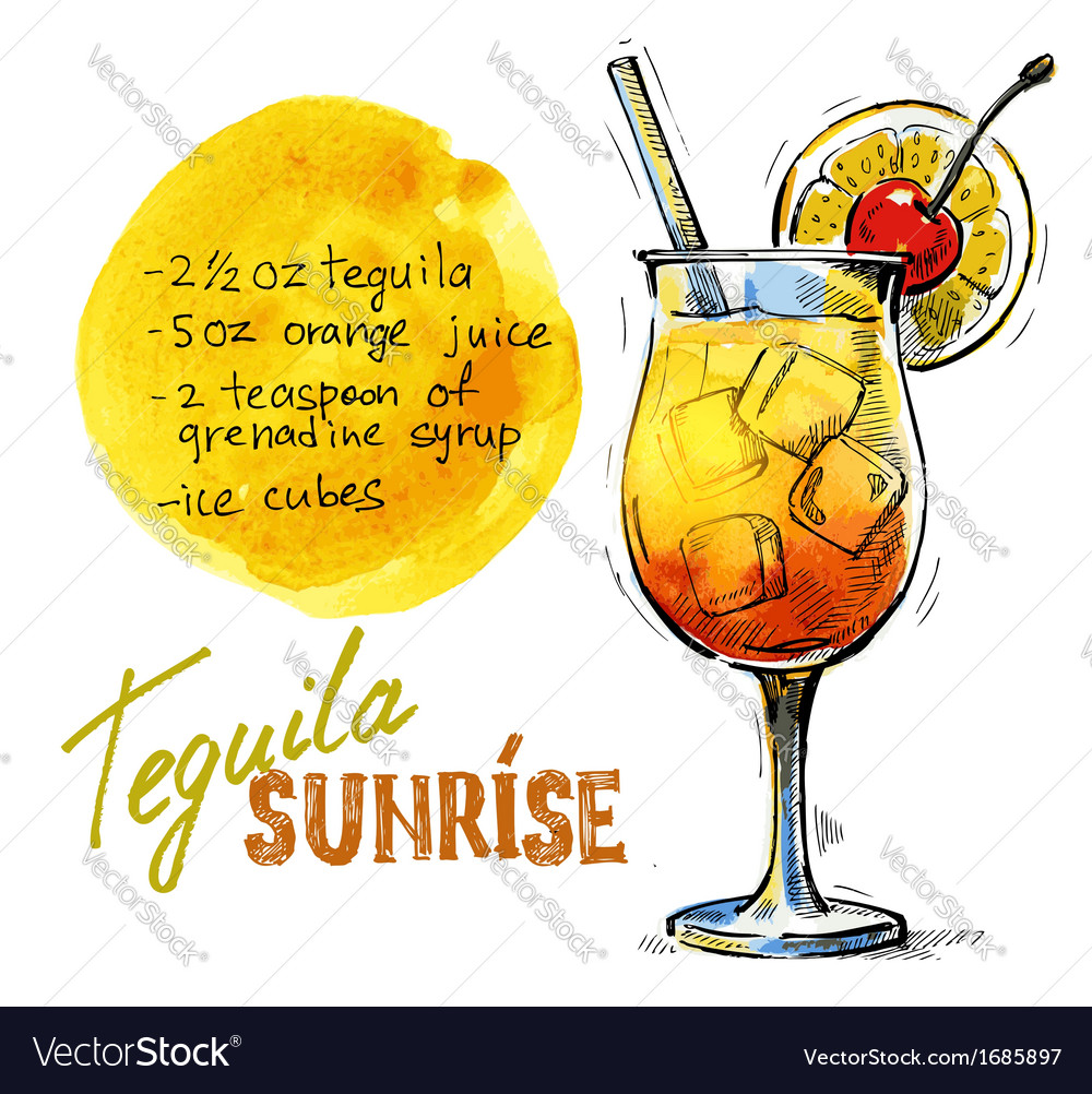 Tequila sunrise vector | Price: 1 Credit (USD $1)