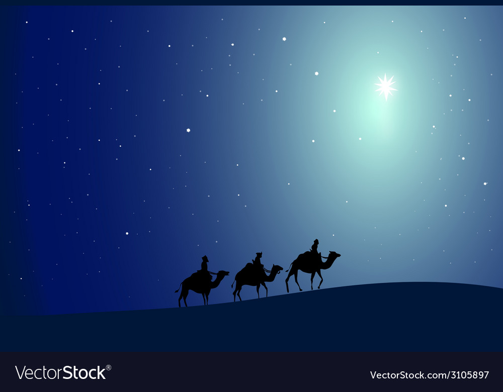 Three wise men and star- vector | Price: 1 Credit (USD $1)