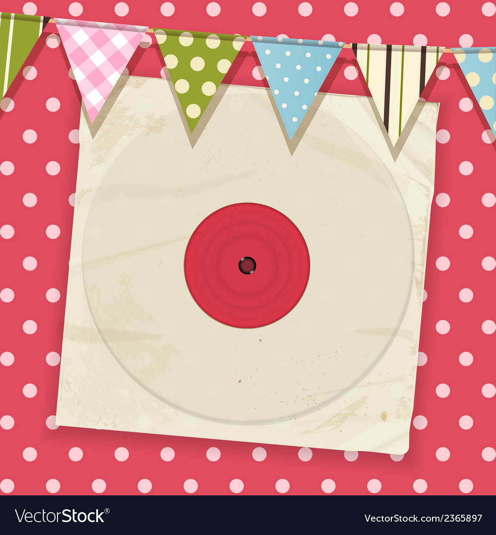 Vintage record and sleeve with bunting on a pink vector | Price: 1 Credit (USD $1)