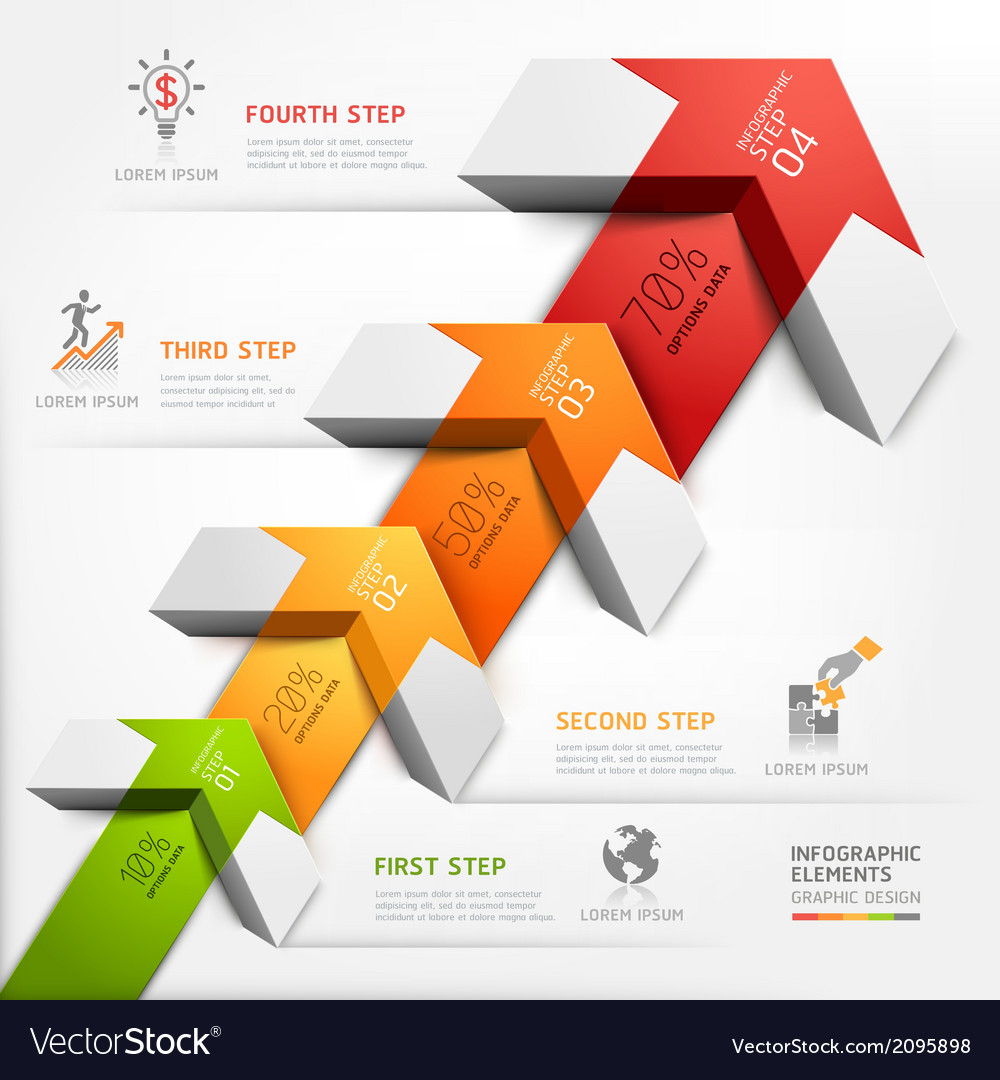 3d business arrow staircase diagram template vector | Price: 1 Credit (USD $1)
