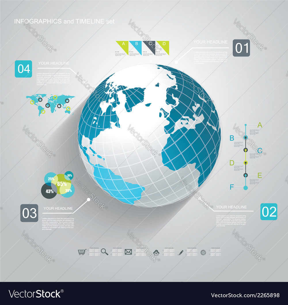 Blue globe and business strategy vector | Price: 1 Credit (USD $1)