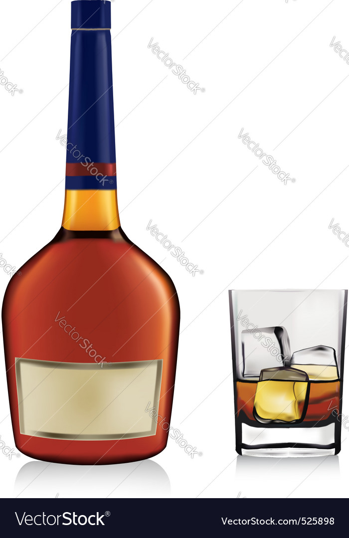 Bottle and whiskey in glass vector | Price: 3 Credit (USD $3)
