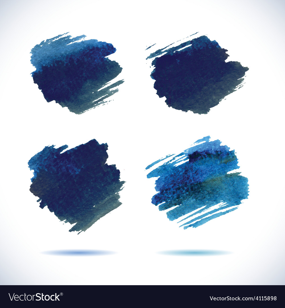 Brushstroke banners ink blue watercolor spot vector | Price: 1 Credit (USD $1)