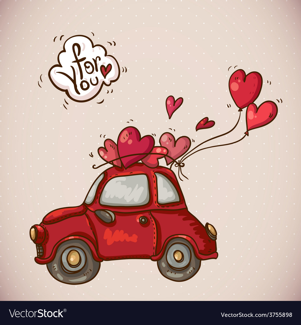 Doodle card valentines day with red car vector | Price: 1 Credit (USD $1)