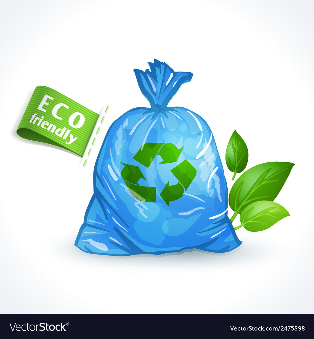 Ecology symbol plastic bag vector