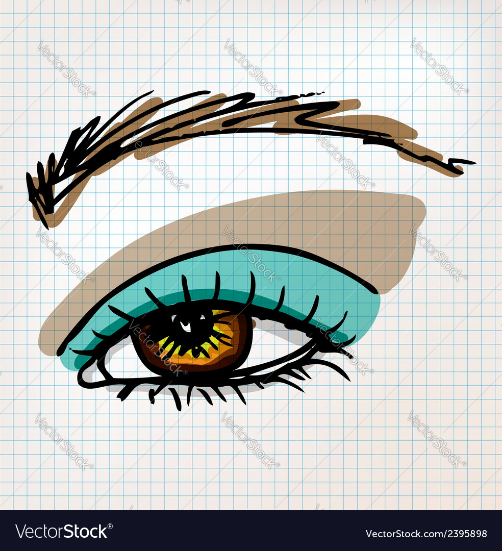 Female eye sketch vector | Price: 1 Credit (USD $1)