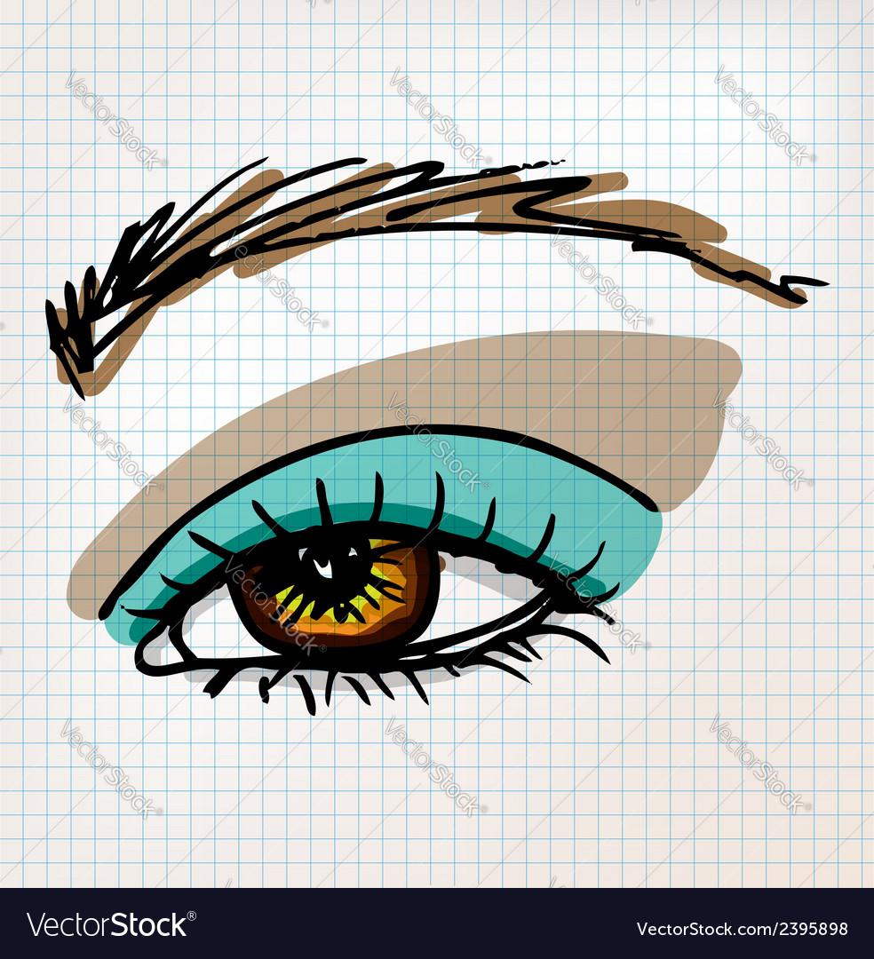 Female eye sketch vector | Price: 1 Credit (USD $1)