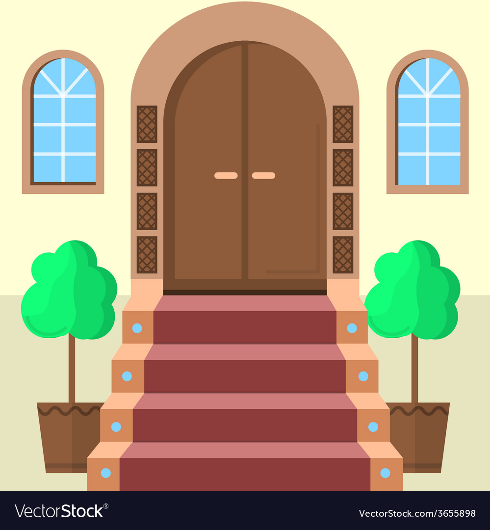 Flat of facade doors with stairs vector | Price: 1 Credit (USD $1)