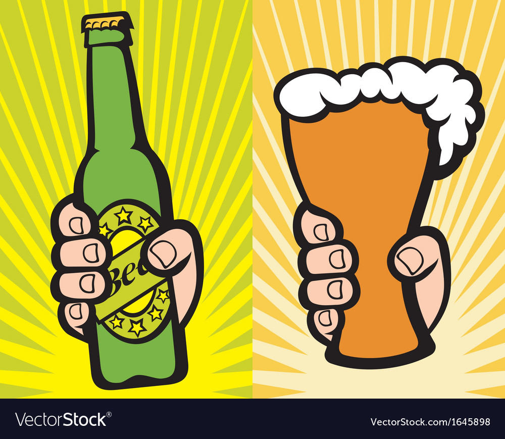 Hand holding a glass of beer and green beer bottle vector | Price: 1 Credit (USD $1)