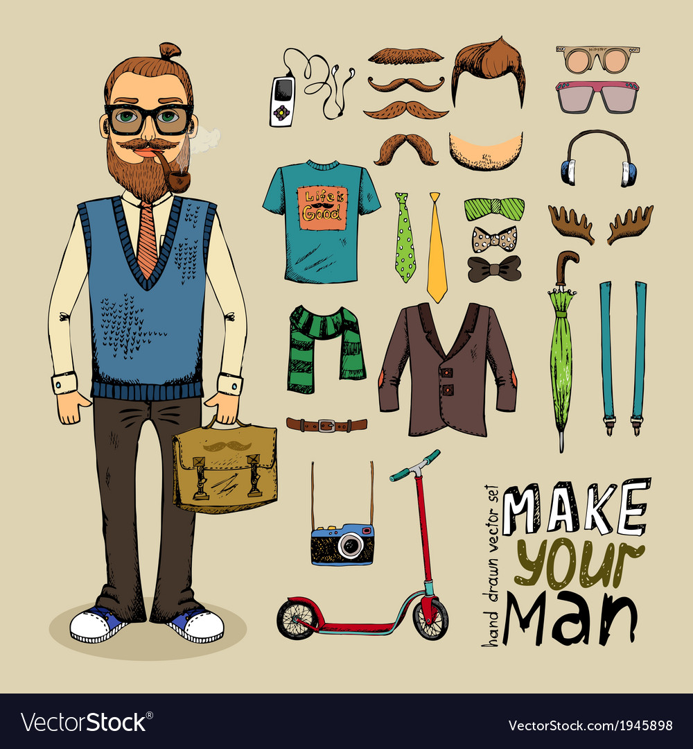 Retro style man set vector | Price: 1 Credit (USD $1)