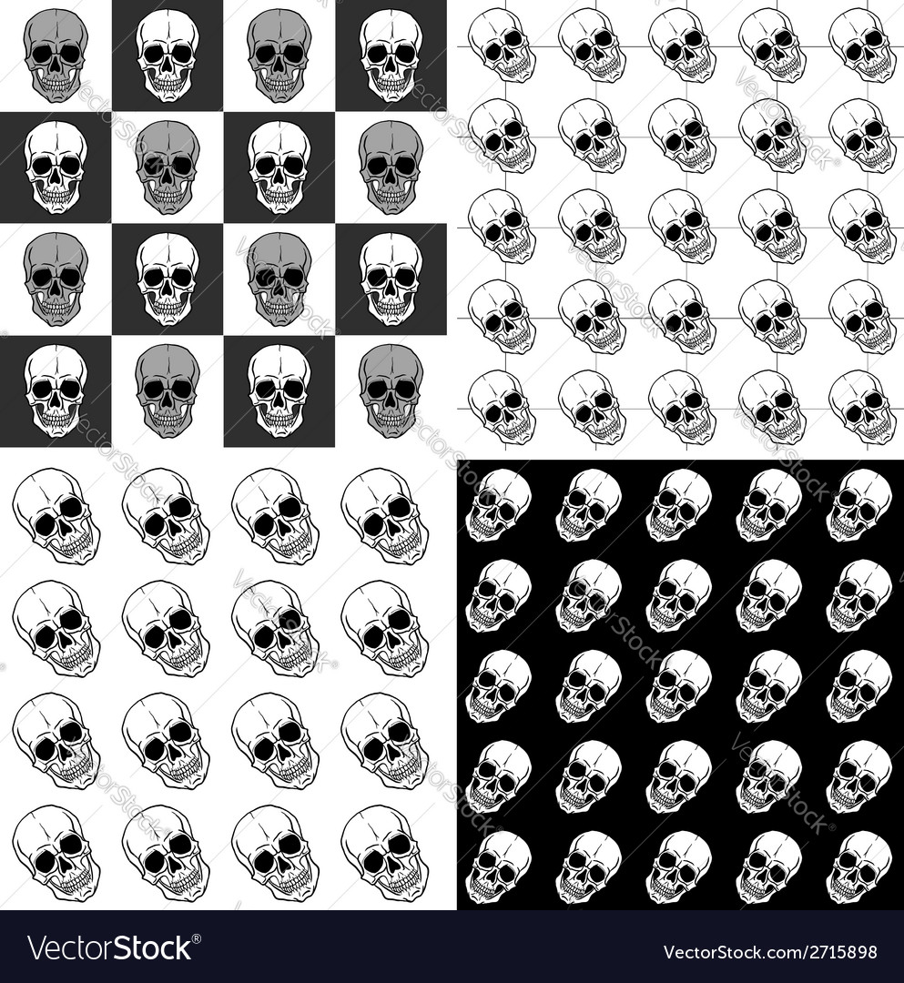 Set of seamless patterns with skulls over black vector | Price: 1 Credit (USD $1)