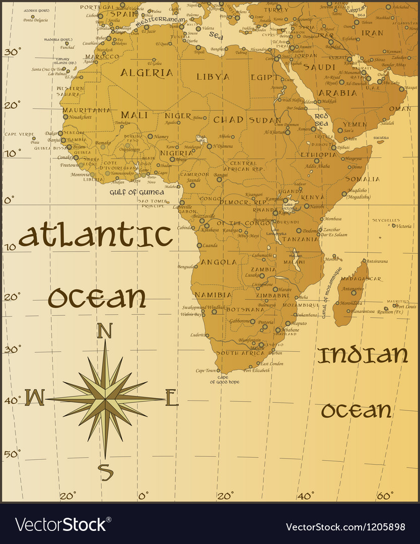 Vintage map of africa vector | Price: 1 Credit (USD $1)