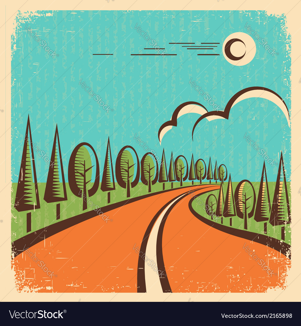 Vintage nature landscape with road vector | Price: 1 Credit (USD $1)