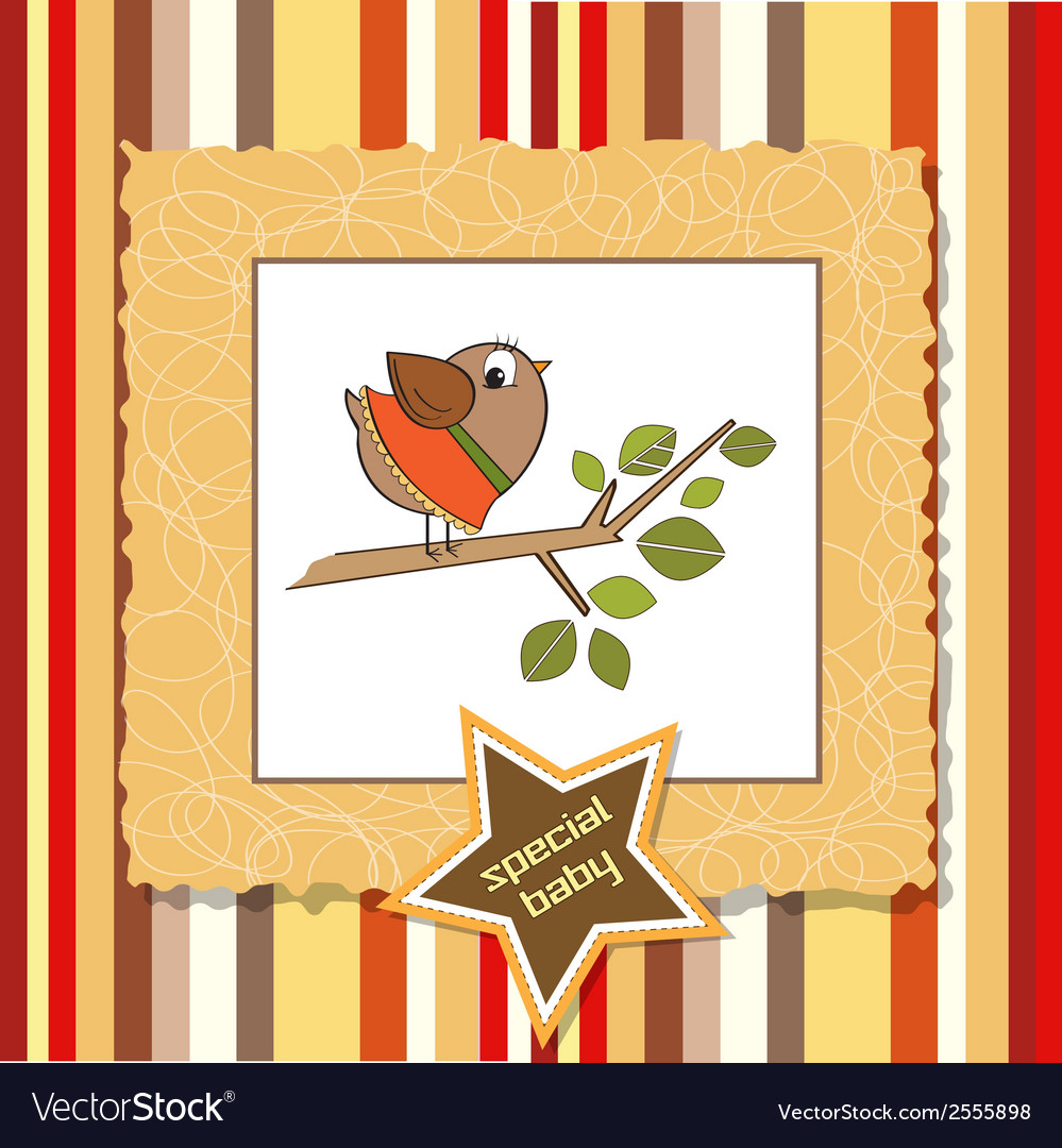 Welcome card with funny little bird vector | Price: 1 Credit (USD $1)