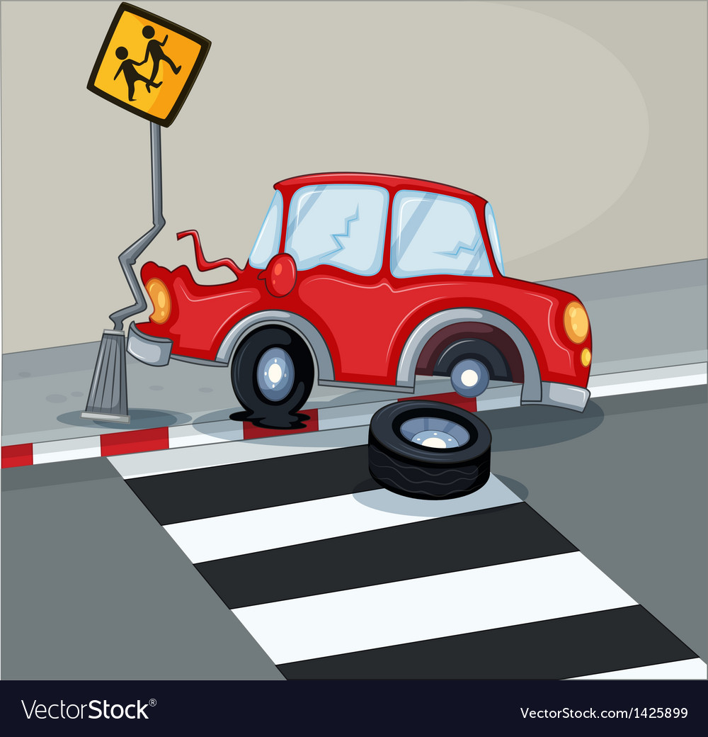 A red car bumping the signage near the pedestrian vector | Price: 1 Credit (USD $1)