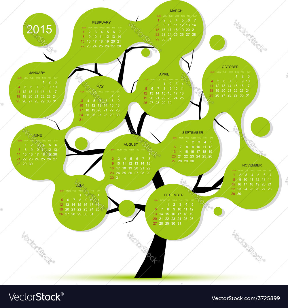 Calendar tree 2015 for your design vector | Price: 1 Credit (USD $1)