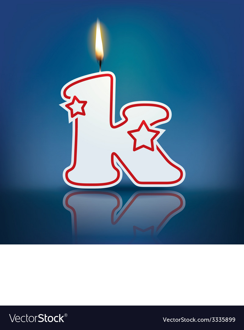 Candle letter k with flame vector | Price: 1 Credit (USD $1)