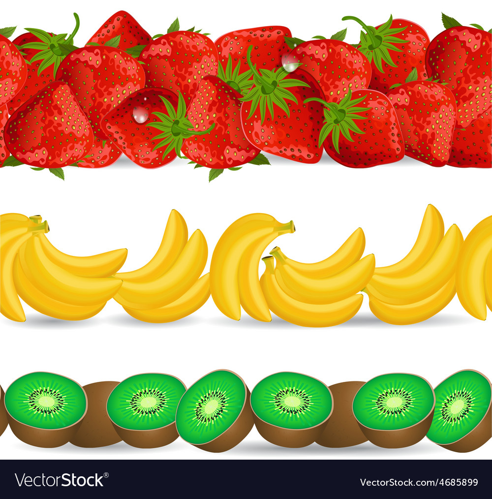 Collection seamless borders with fruits on white vector | Price: 1 Credit (USD $1)