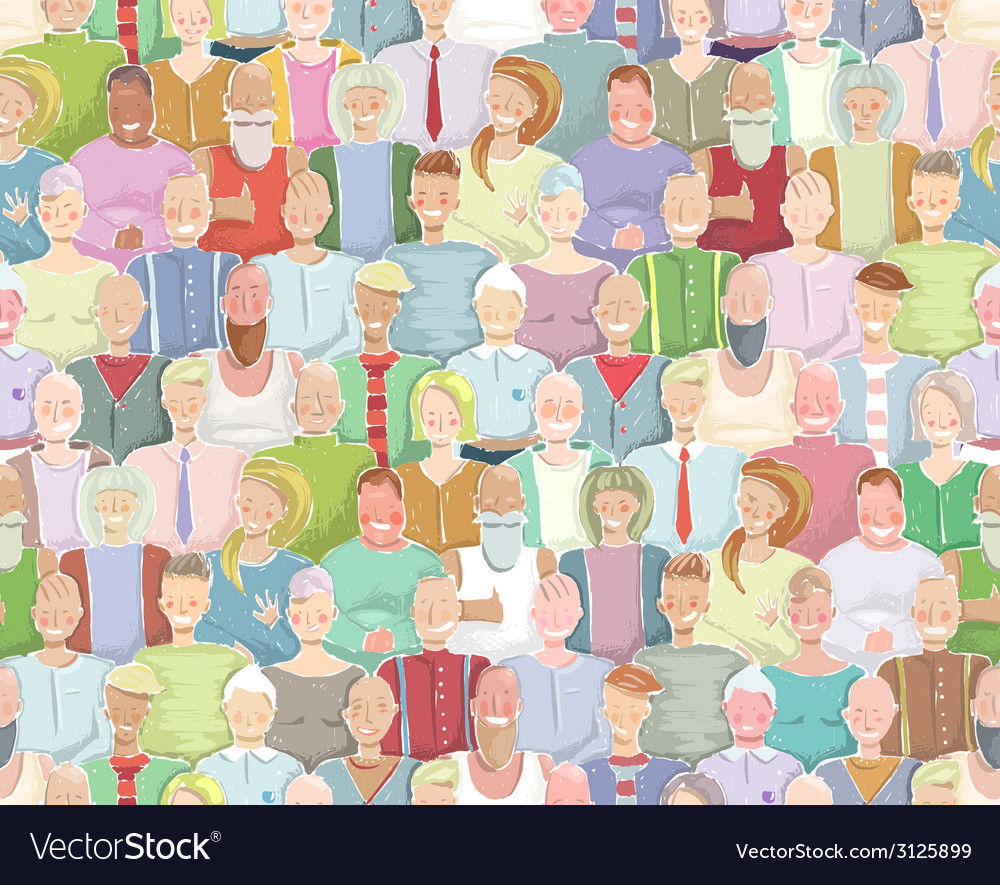 Colorful many people throng tileable background vector | Price: 1 Credit (USD $1)