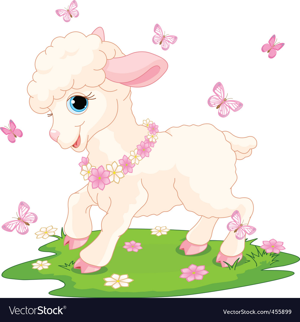 Easter lamb and butterflies vector | Price: 1 Credit (USD $1)