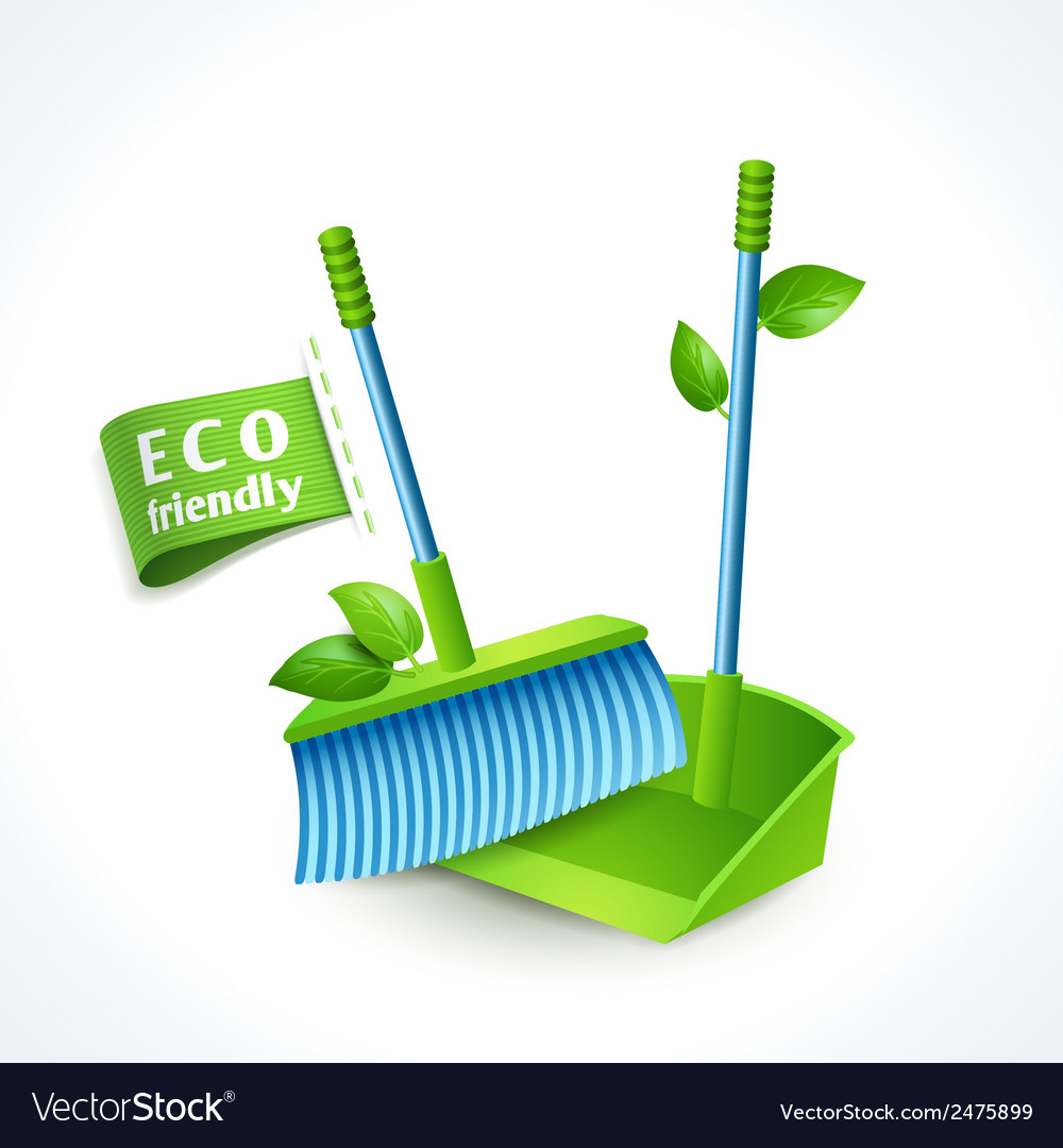 Ecology symbol dustpan and brush vector | Price: 1 Credit (USD $1)