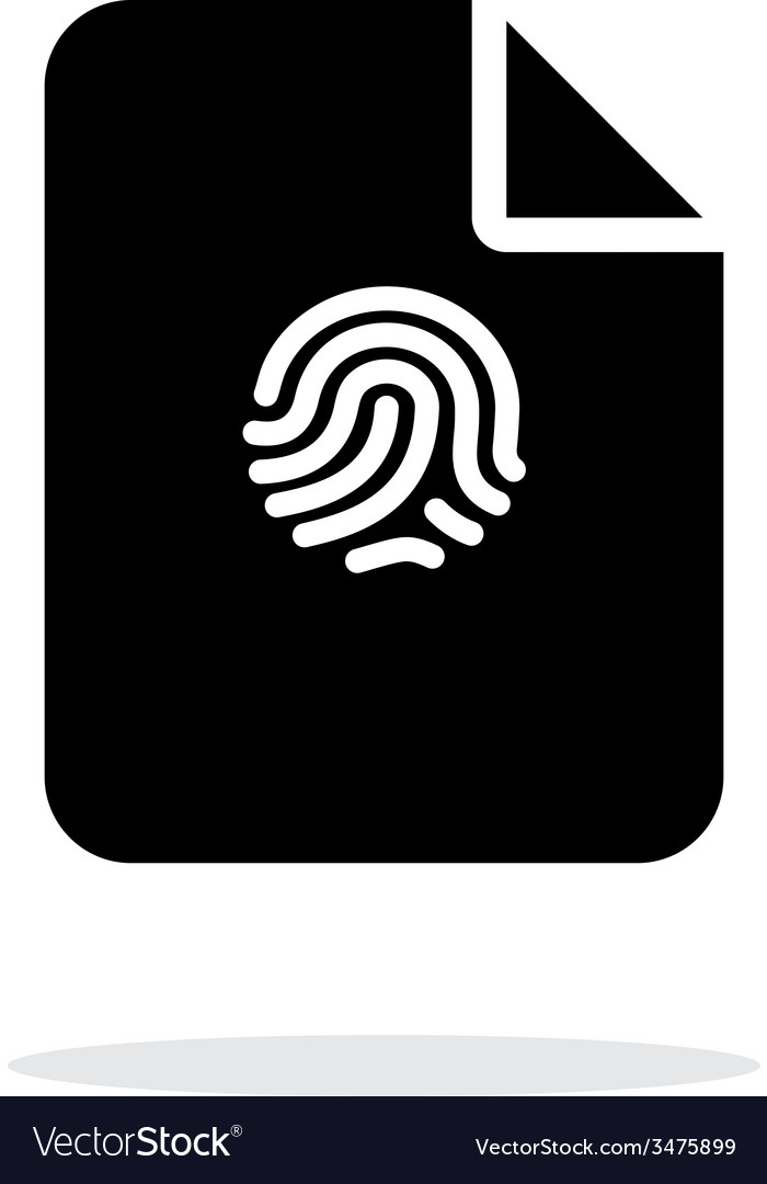 File with fingerprint icon on white background vector | Price: 1 Credit (USD $1)