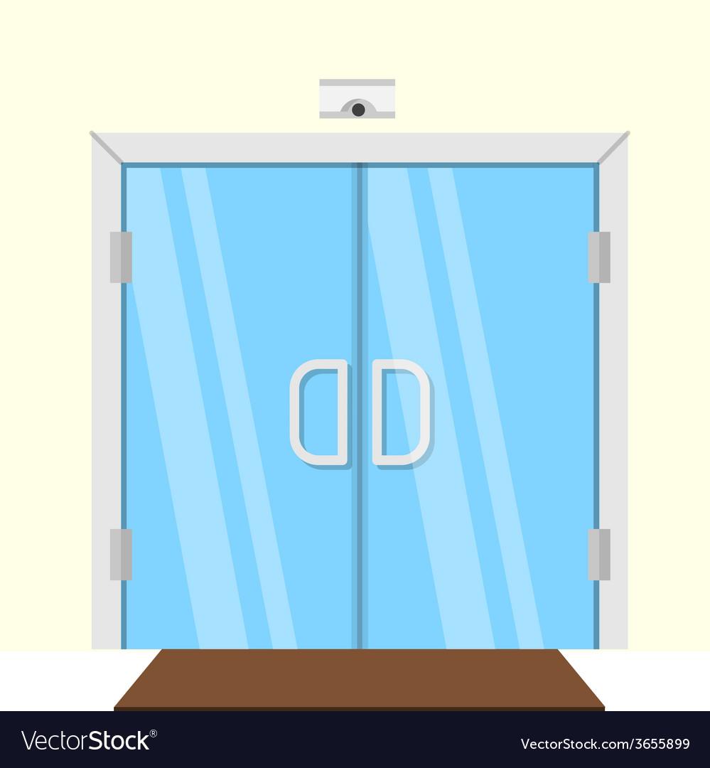 Flat of transparent glass door vector | Price: 1 Credit (USD $1)