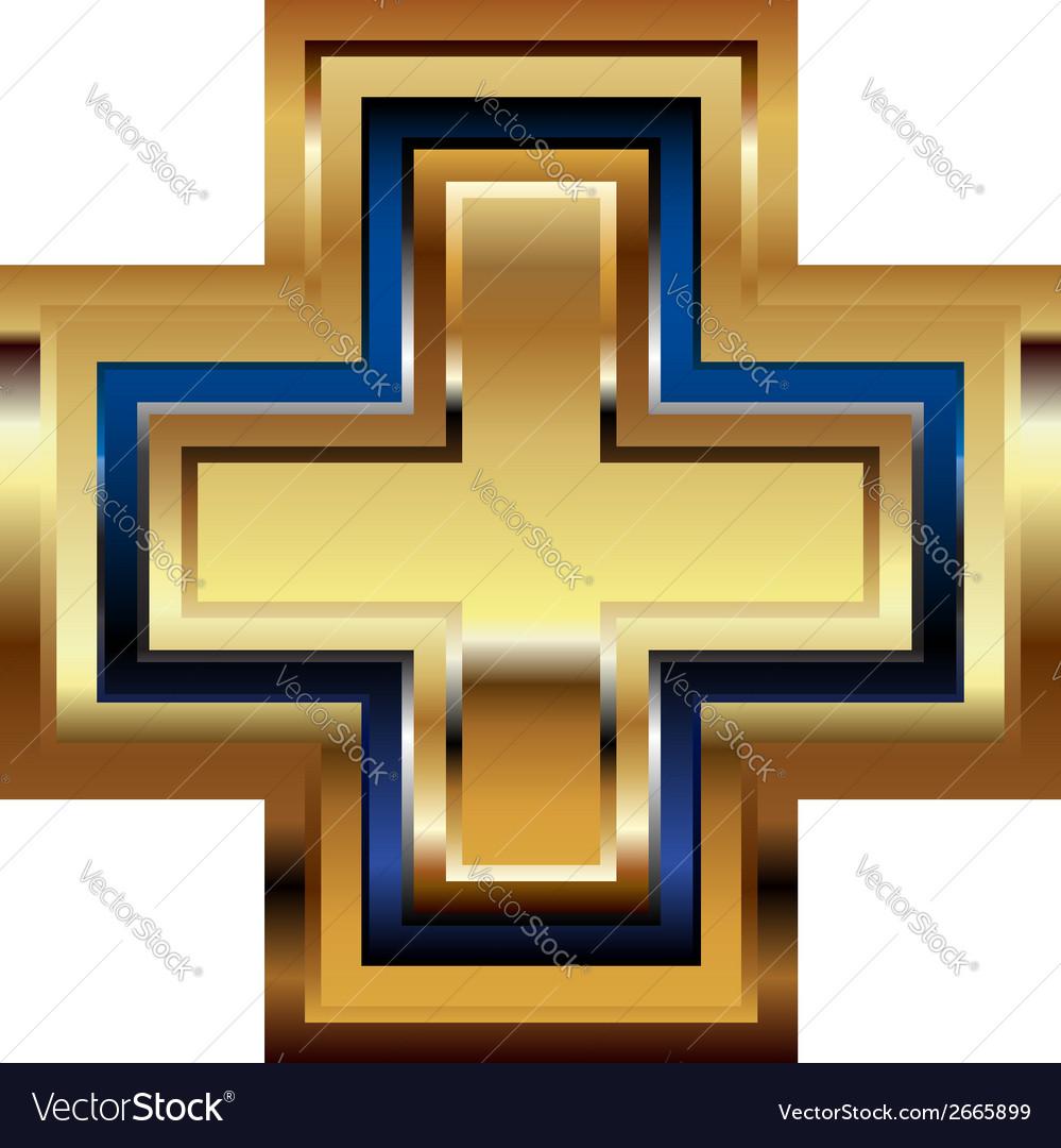 Golden cross symbol vector | Price: 1 Credit (USD $1)