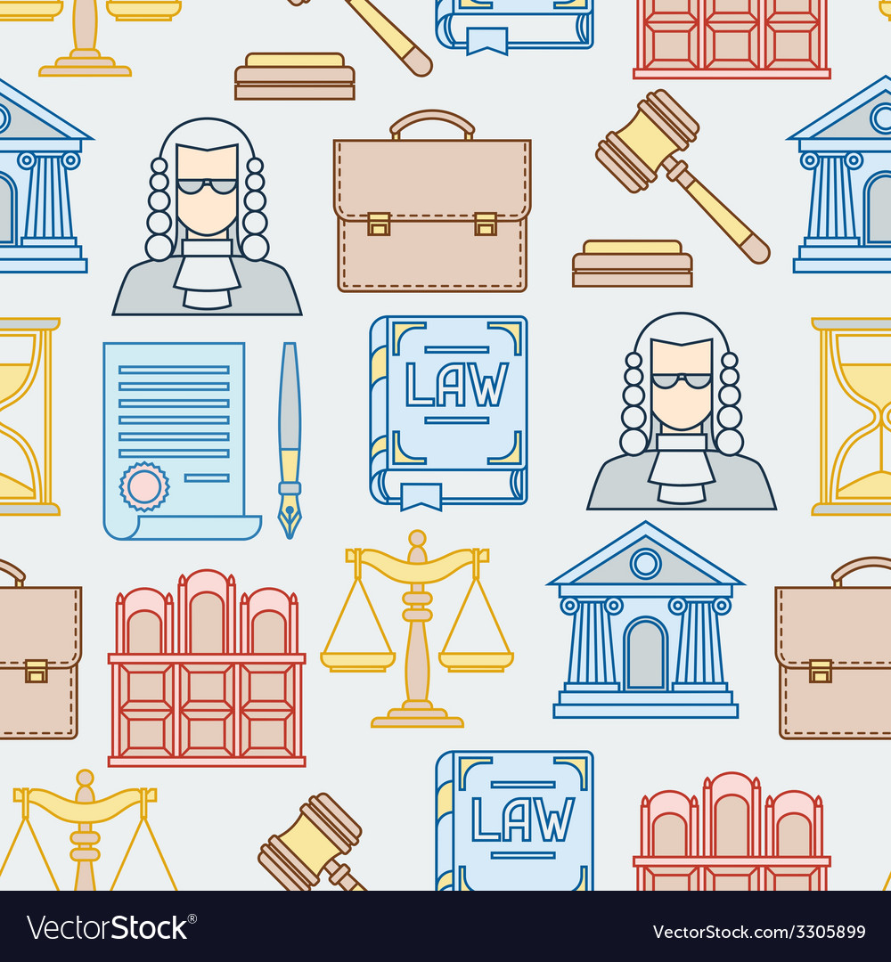 Law contour icons seamless pattern in flat design vector | Price: 1 Credit (USD $1)
