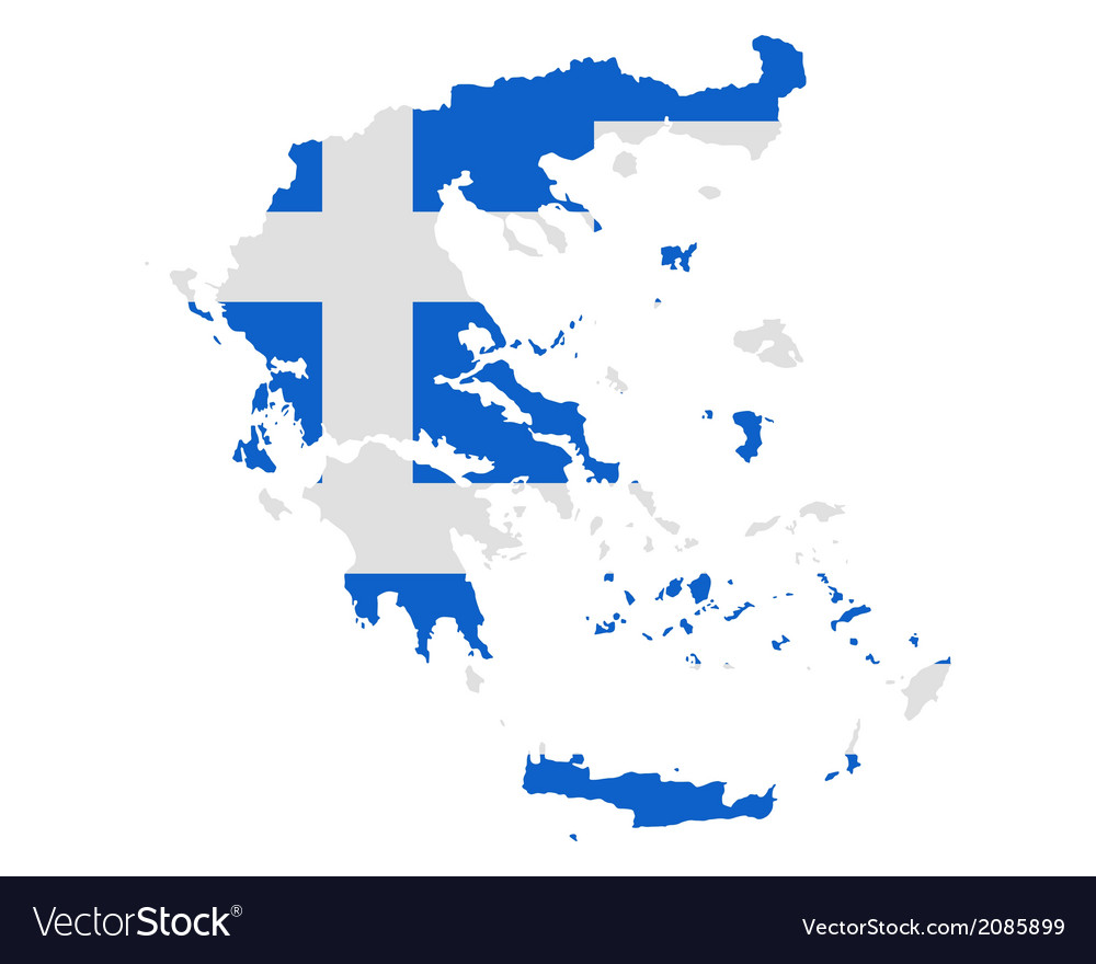 Map and flag of greece vector | Price: 1 Credit (USD $1)