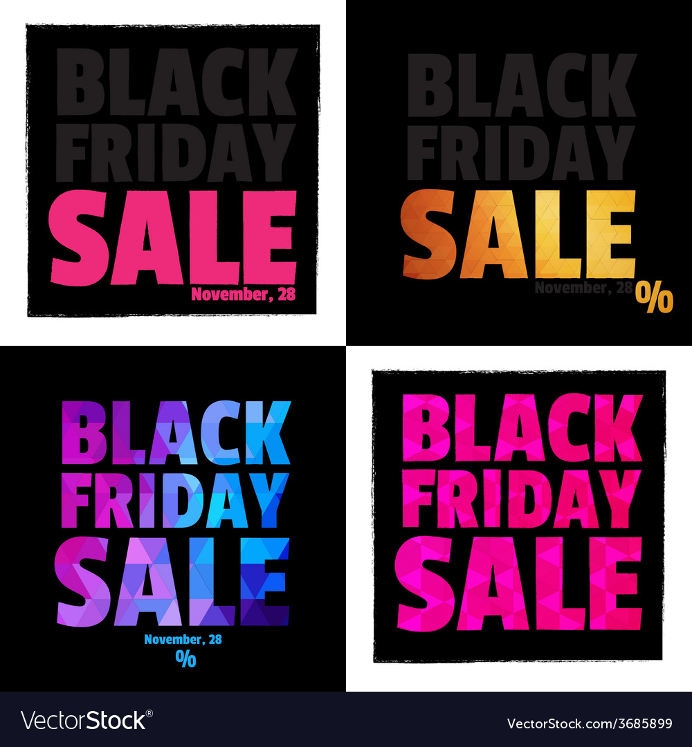 Set of 4 posters typography black friday sale vector | Price: 1 Credit (USD $1)