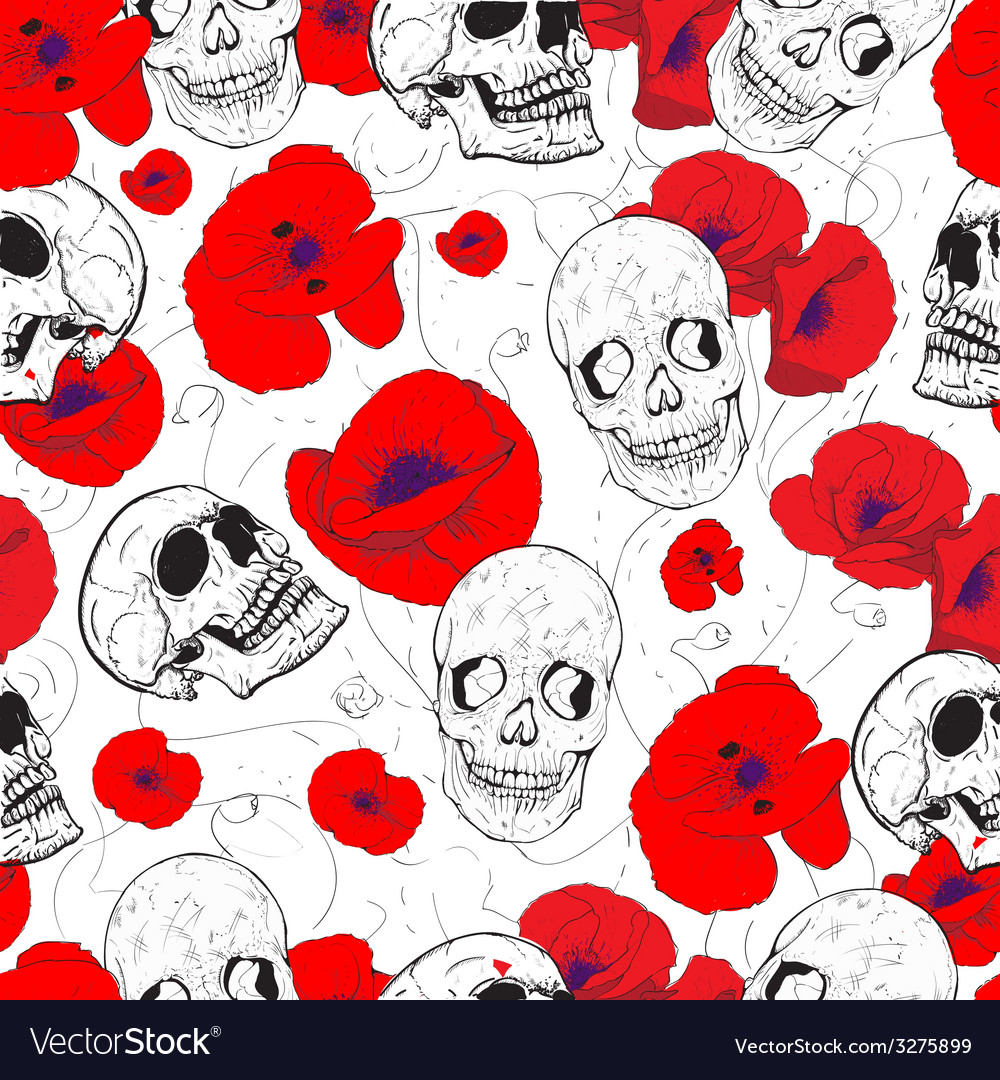 Skulls and flowers vector | Price: 1 Credit (USD $1)