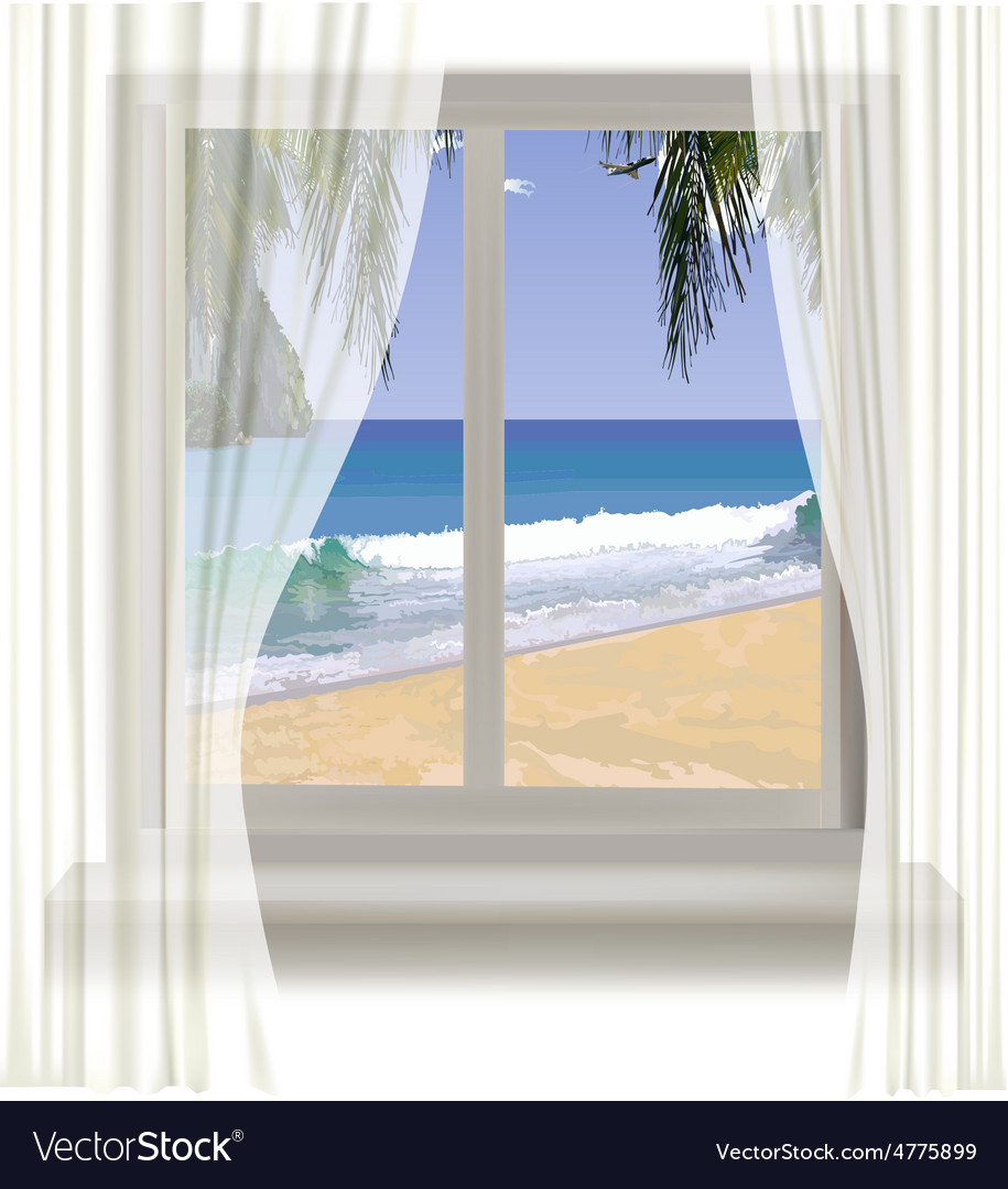 Tropical beach through the window vector | Price: 1 Credit (USD $1)