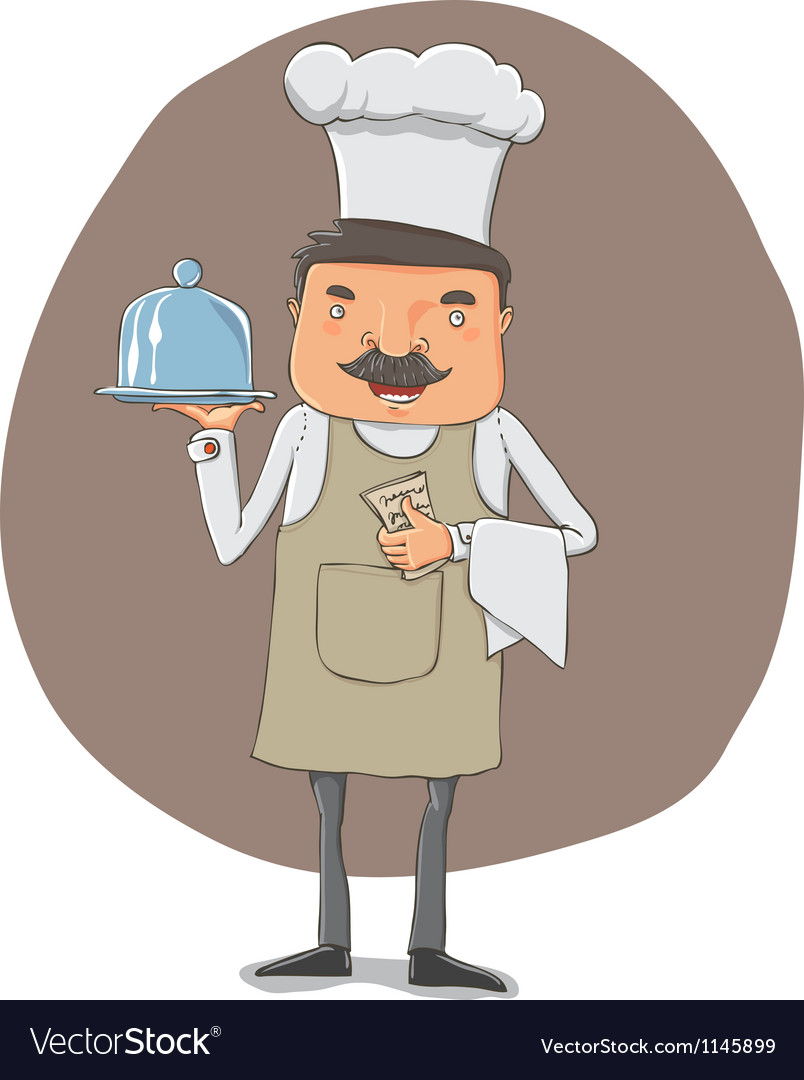 Waiter with a tray and notebook vector | Price: 1 Credit (USD $1)